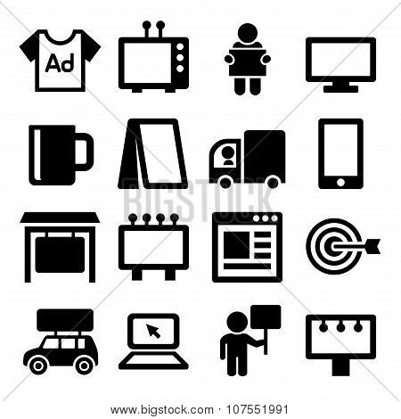 Advertisement Icons Set on White Background. Vector