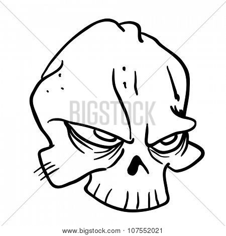 simple black and white skull cartoon