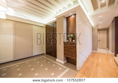 Spacious Anteroom Interior In Warm Tones And Modern Ceiling Lights