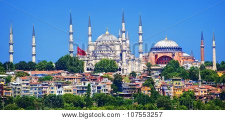 Panoramic View Of Istanbul With Blue Mosque And Hagia Sophia Cathedral From Marmara Sea, Turkey