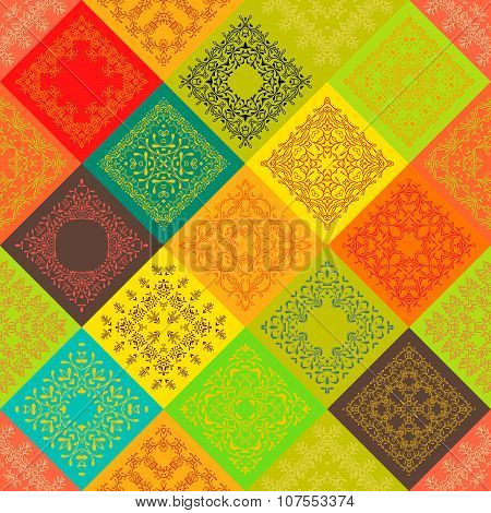 Seamless abstract pattern Patchwork frame trendy colored floral flower tiles. For wallpaper surface