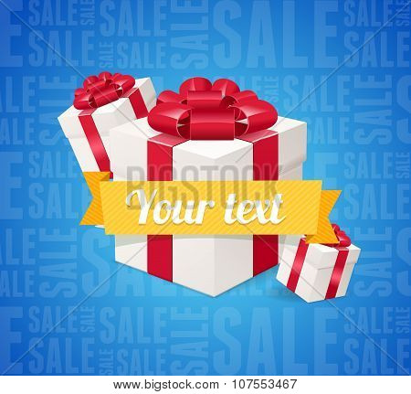 Sale Background Present Boxes. Vector