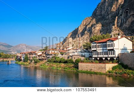 Well Preserved Old Ottoman Architecture And Pontus Kings Tombs In Amasya, Central Anatolia, Turkey
