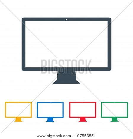 Monitor Icons Colored Set On The White Background. Stock Vector Illustration Eps10