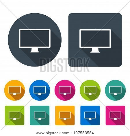 Monitor Icons Set In The Style Flat Design Different Color On The White Background. Stock Vector