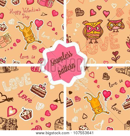 cute valentines patterns set