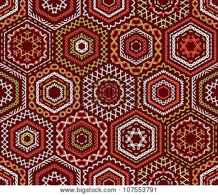 Seamless Ethnic Embroidery Pattern.