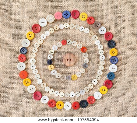 Circles Of Colorful Sewing Buttons.background