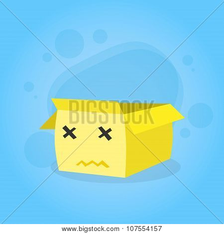 Cardboard Box Yellow Cartoon Character Sad Unhappy Face