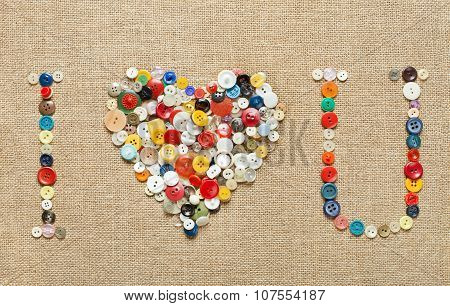 Buttons Heart Background. Valentine's Day. I Love You