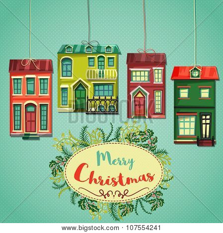 Merry Christmas retro card. Vintage cartoon city houses and wreath of christmas plants. Hand drawn v