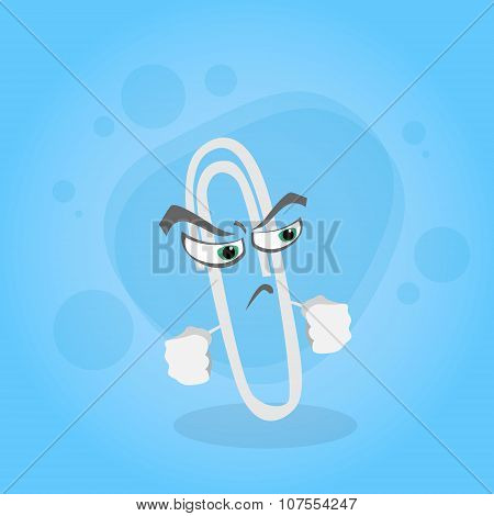 Paperclip Cartoon Character Angry Face Clip Office Supplies