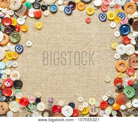 Buttons Frame On Fabric Texture Background