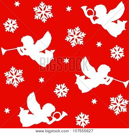 Christmas Seamless Pattern With Silhouettes Of Angels, Trumpets, Snowflakes And Stars, Vector