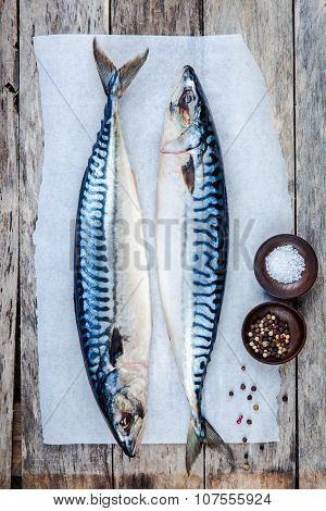 Two Raw Fresh Mackerel Fishes On A Paper With Salt And Pepper