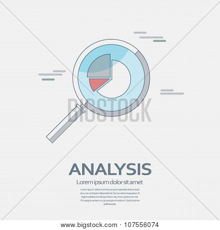 Business Analysis symbol with magnifying glass line icon and pie chart.
