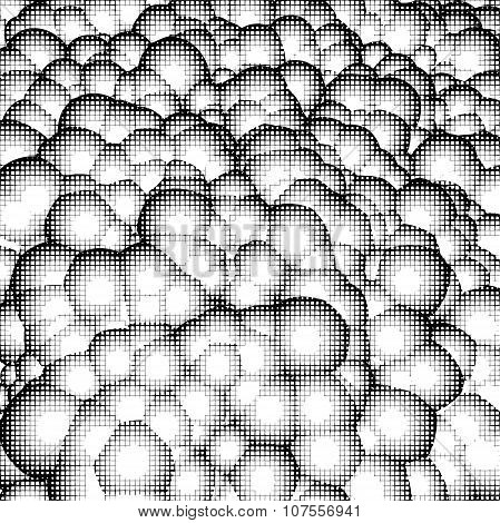 Hatch Pattern Bubbles Background In Black And White