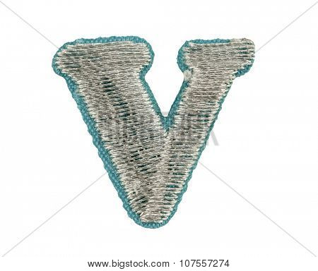 Fonts that are stitched with thread isolated on white capitol letter V