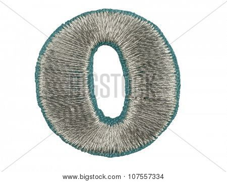 Fonts that are stitched with thread isolated on white capitol letter O