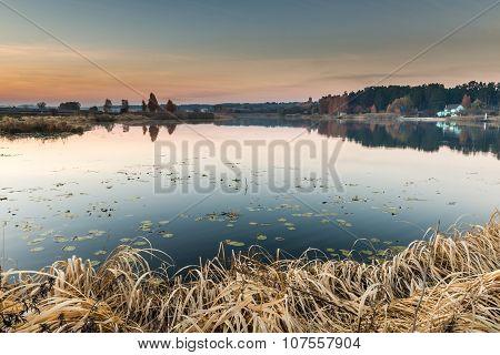 Detail of a beautiful lake at sunset