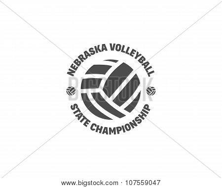 Volleyball label, badge, logo and icon. Sports insignia. Best for volley club, league competition, s