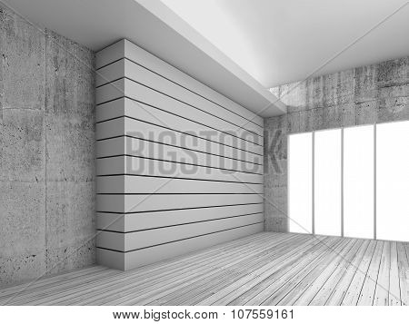 White 3D Interior Background With Wooden Floor