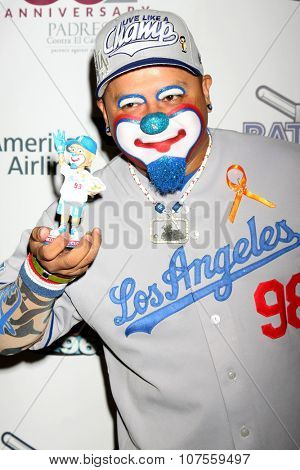 LOS ANGELES - NOV 7:  Hiccups the Clown at the Adrian Gonzalez's Bat 4 Hope Celebrity Softball Game PADRES Contra El Cancer at the Dodger Stadium on November 7, 2015 in Los Angeles, CA