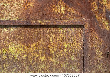 old surface of the metal sheet covered with old paint texture background