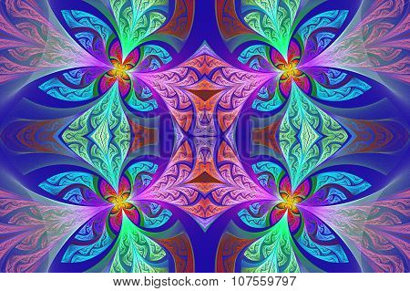 Multicolored Symmetrical Flower Pattern In Stained-glass Window Style. Artwork For  Design,