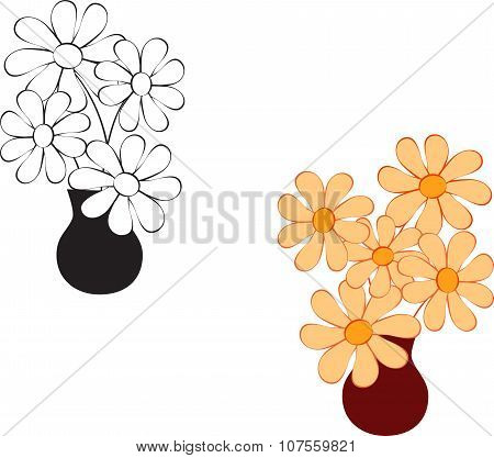 Black and White Flower Vectors, Yellow Flower Vectors