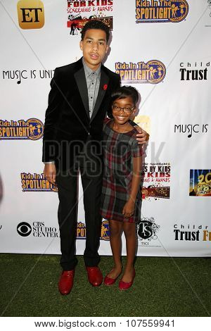 LOS ANGELES - NOV 7:  Marcus Scribner, Marsai Martin at the Kids In The Spotlight's Movies By Kids, For Kids Film Awards at the Fox Studios on November 7, 2015 in Century City, CA