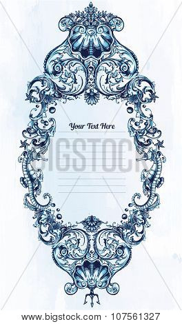Marine ornate sea frame. Copy text template.