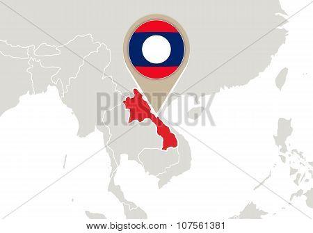 Laos On World Map
