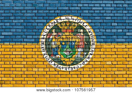 Flag Of Pecs Painted On Brick Wall