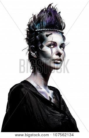 Beautiful Woman With Creative Chess Figures Make-up Isolated On Background