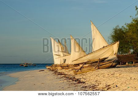Typical Fishing Boat On Zanzibar