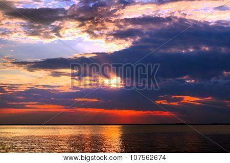 Sunset Landscape Of Seaside