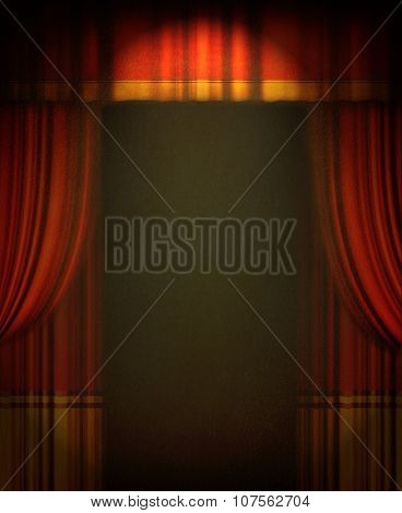 red theater curtain with soft lighting