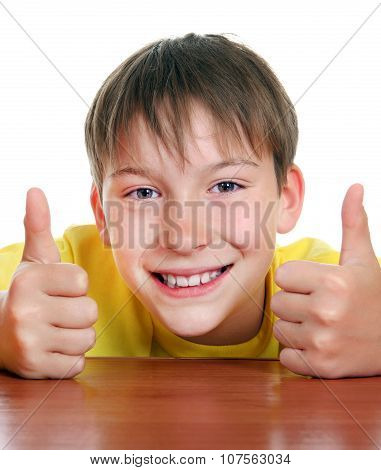Cheerful Kid With Thumb Up