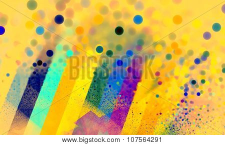 Color Spectrum Bokeh Blurry Yellow Background. Rainbow Background