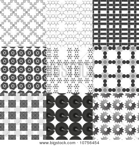Set of monochrome geometrical patterns