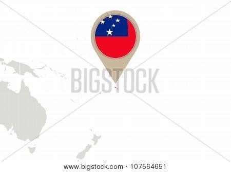 Samoa On World Map