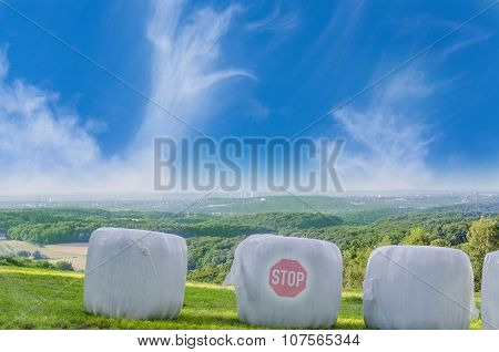 Straw Bales With Stop Icon