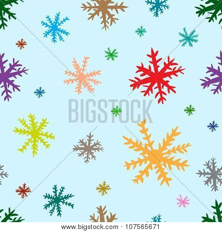 Seamless color snowflakes on blue