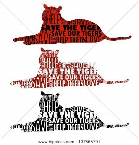 Set Of Five Tiger Silhouettes With Words In Shape