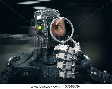 Robot  holding a Magnifying glass with human face conceptual composition