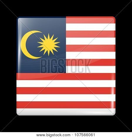 Flag Of Malaysia. Glassy Icon Square Shape