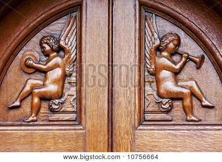 Angels On Wooden Door