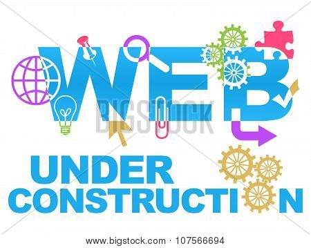 Web Under Construction With Symbols Colorful
