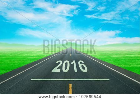 Driving On An Empty Road To Upcoming 2016